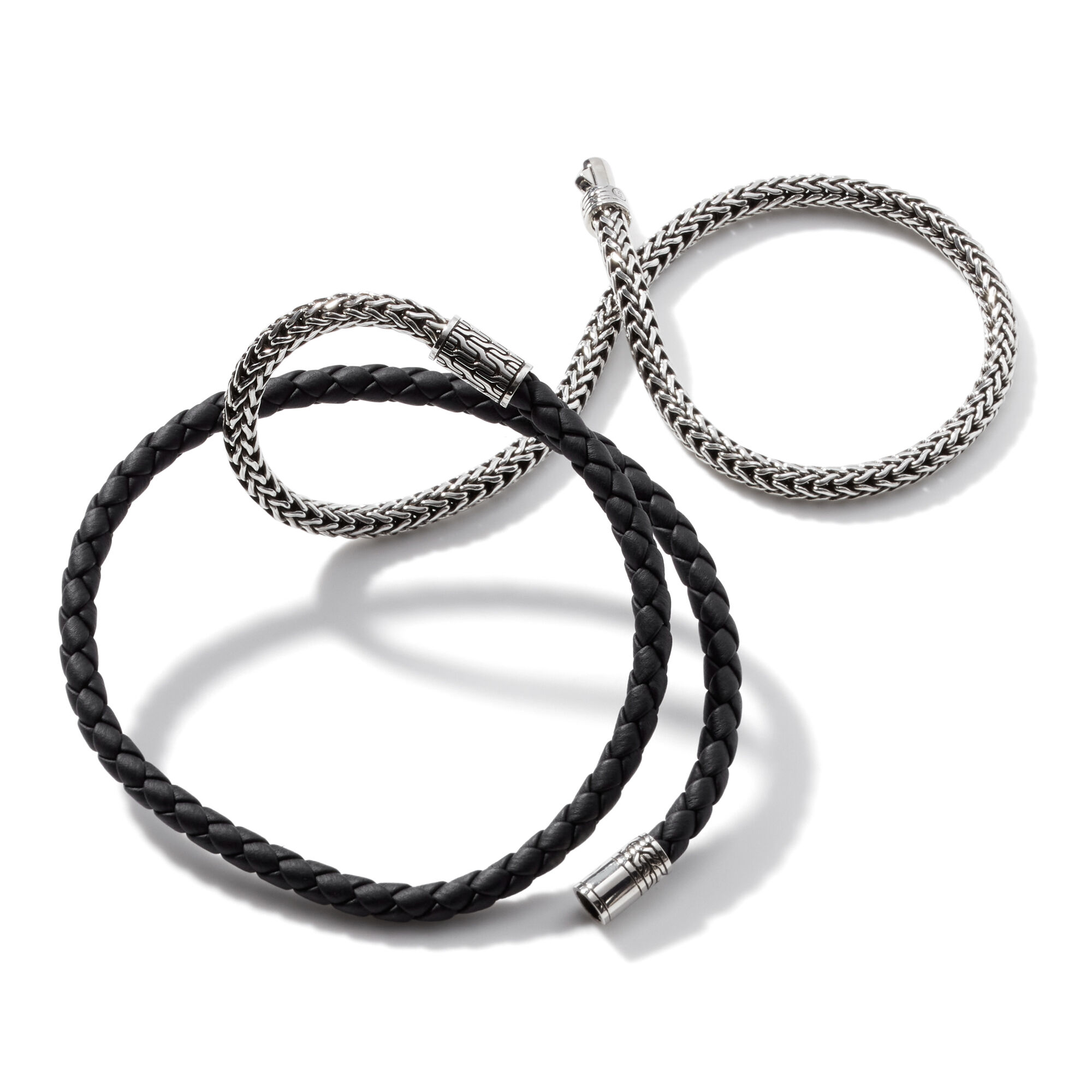 Classic Chain Triple Wrap Bracelet in Silver with Leather, , large