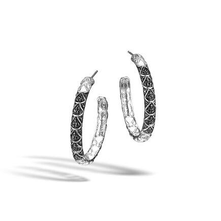 Legends Naga Medium Hoop Earring in Silver with Gemstone