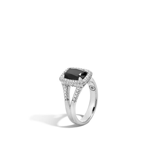 Classic Chain Magic Cut Ring, Silver, 10x7MM Gems, Diamonds, Black Onyx, large