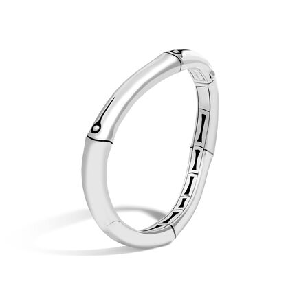 Bamboo 9MM Curved Hinged Bangle in Silver