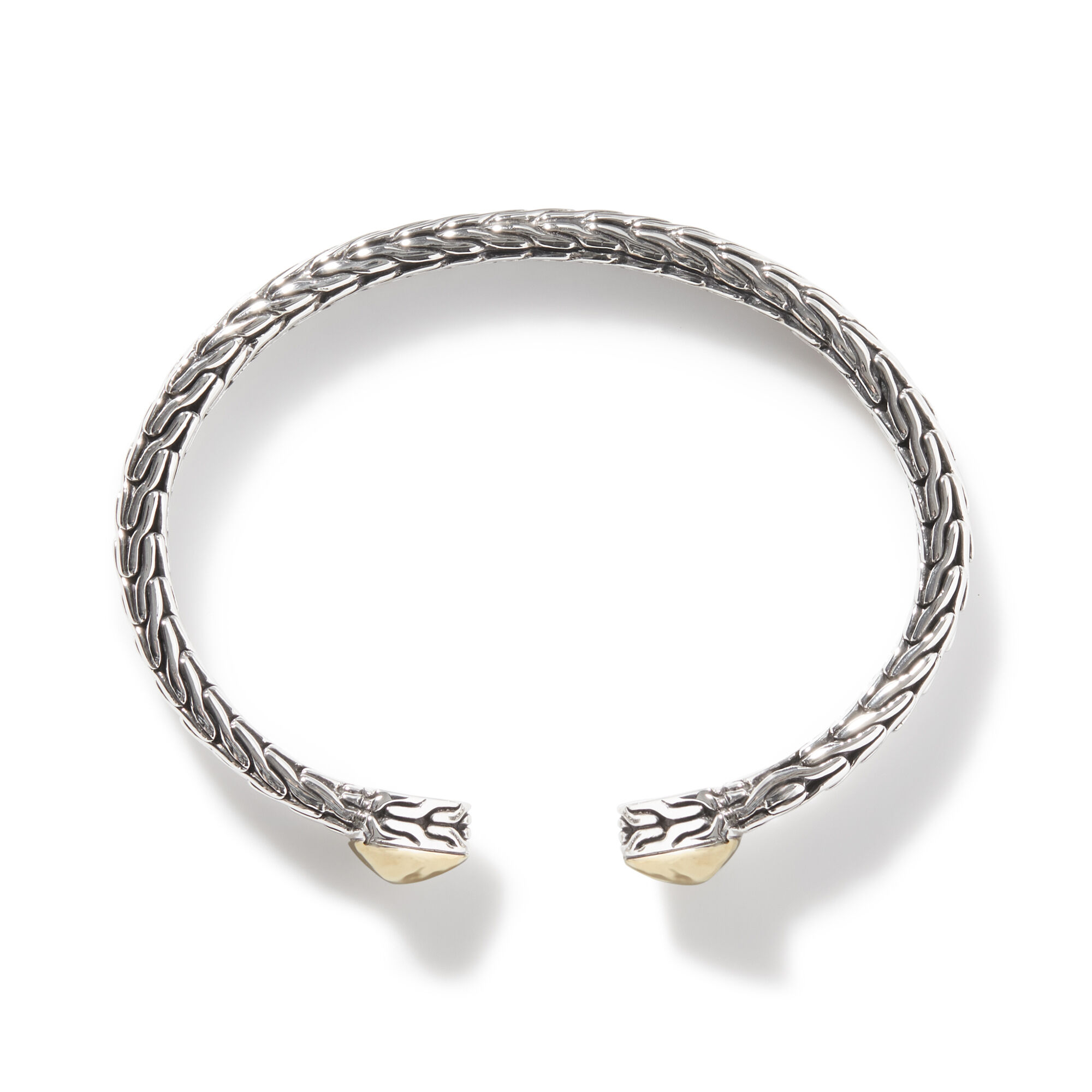 Classic Chain Flex Cuff in Hammered 18K Gold and Silver, , large