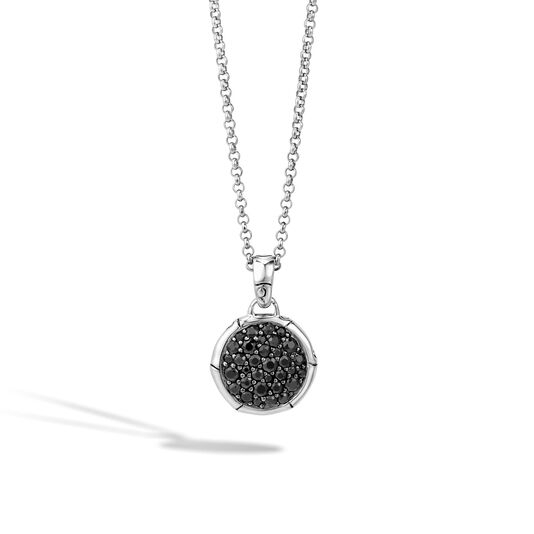 Bamboo Pendant Necklace in Silver with Gemstone, Black Sapphire, large
