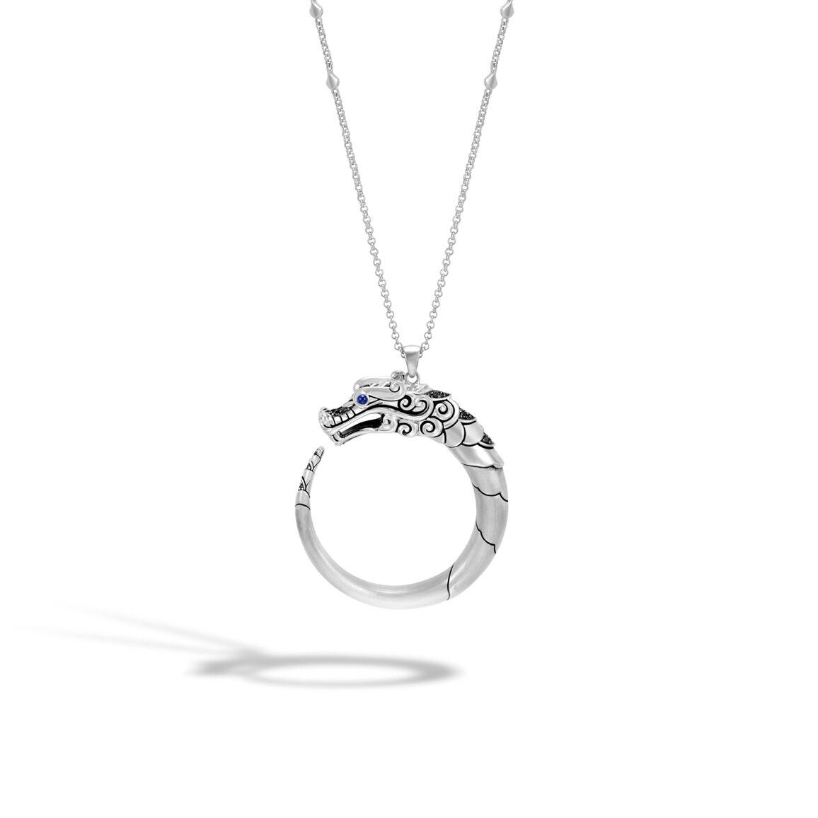 Legends Naga Pendant Necklace, Brushed Silver with Gemstone