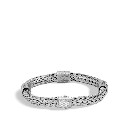 Classic Chain 7.5MM Bracelet in Silver with Diamonds, White Diamond, large