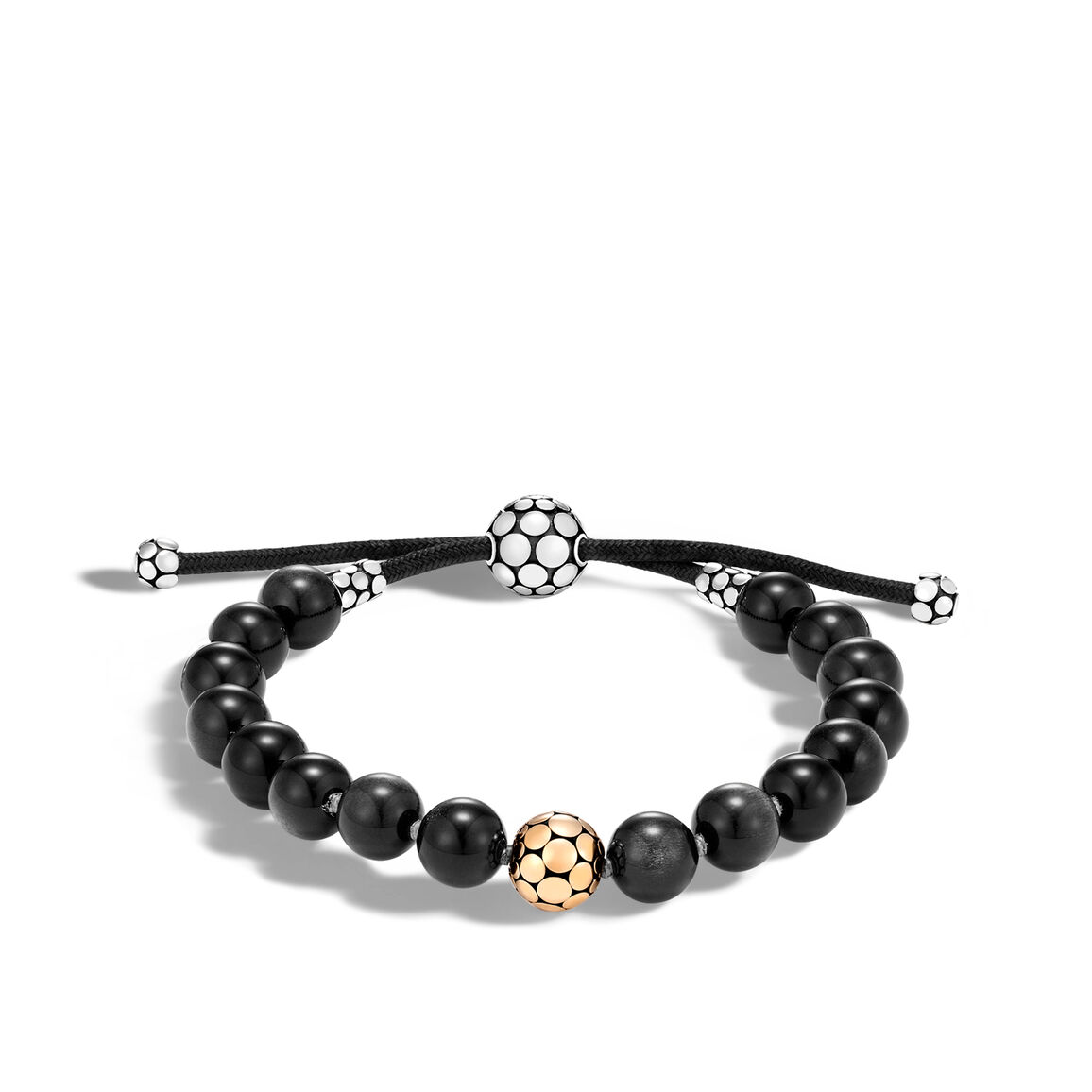 Dot Pull Through Bead Bracelet in Silver and 18K Gold with 8MM Gemstone