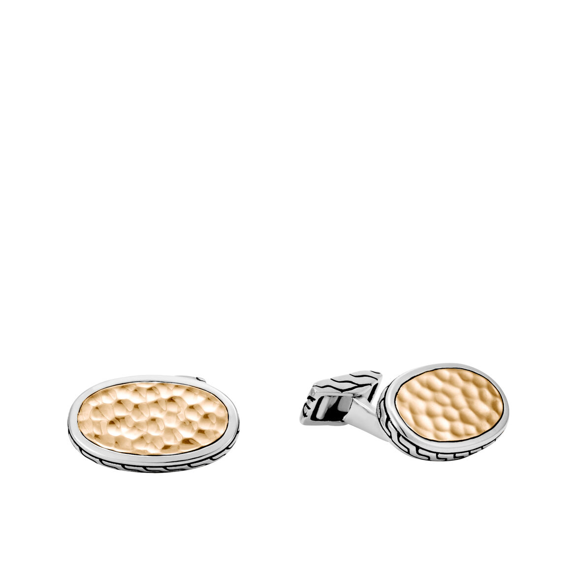 Classic Chain Cufflinks in Hammered 18K Gold and Silver