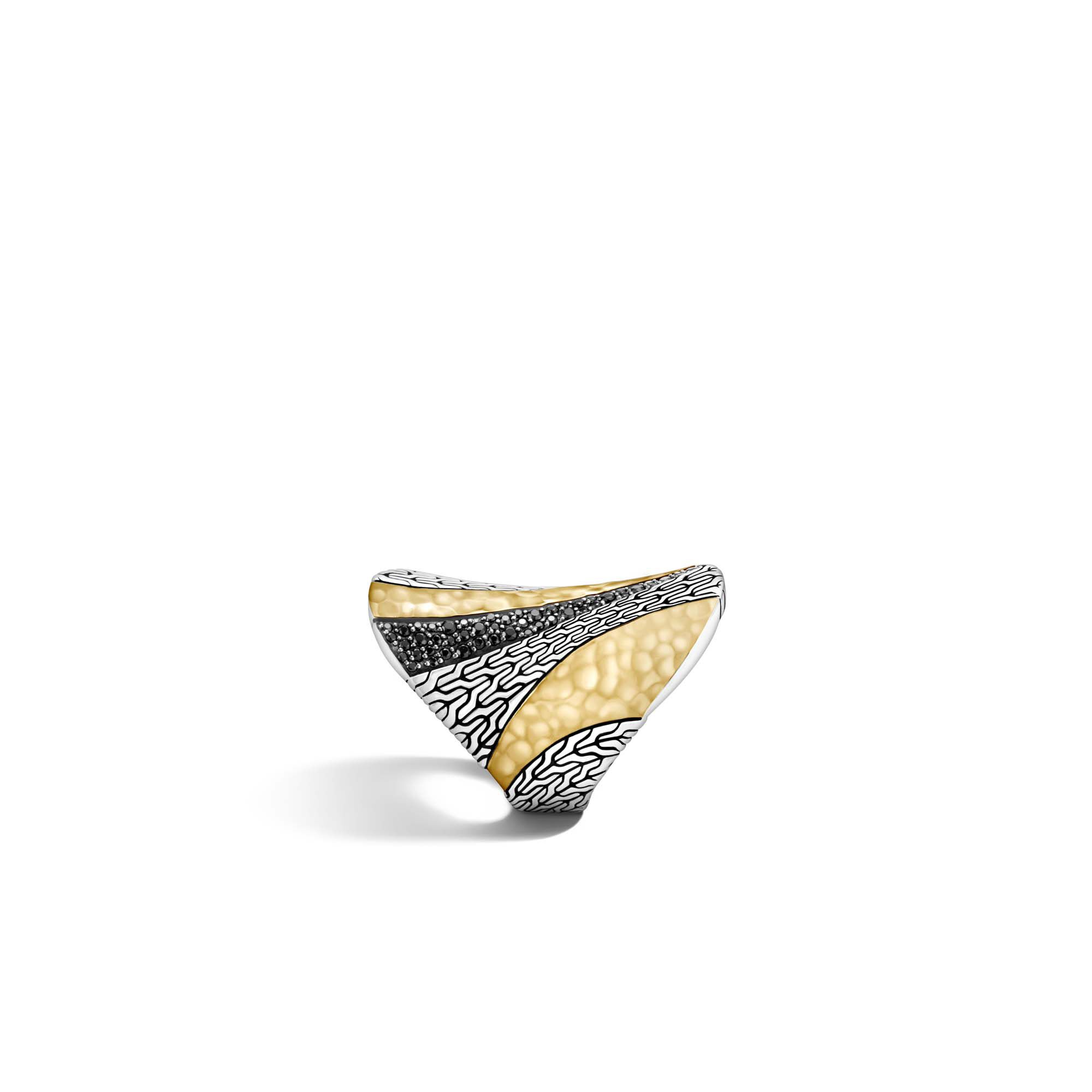Classic Chain Saddle Ring in Silver, Hammered 18K Gold, , large