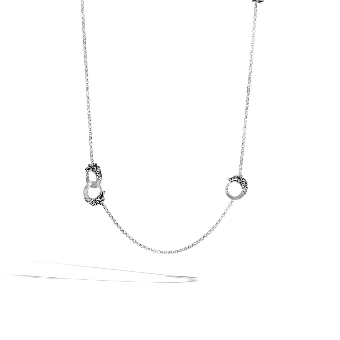 Legends Naga Station Necklace, Brushed Silver with Gemstone
