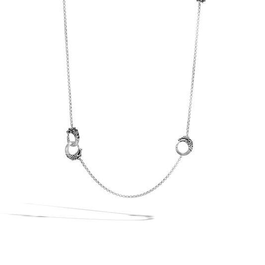 Legends Naga Station Necklace, Brushed Silver with Gemstone, Black Spinel, large
