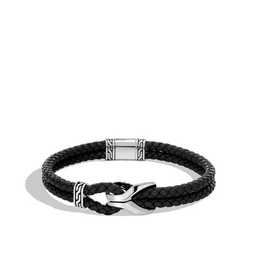 Asli Classic Chain Link Station Bracelet, Silver with Leather, , large
