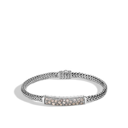 Classic Chain 5MM Station Bracelet in Silver with Diamonds