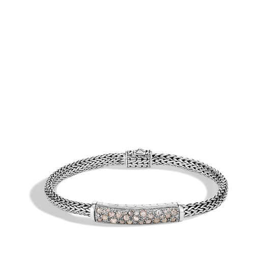 Classic Chain 5MM Station Bracelet in Silver with Diamonds, White Diamond, large