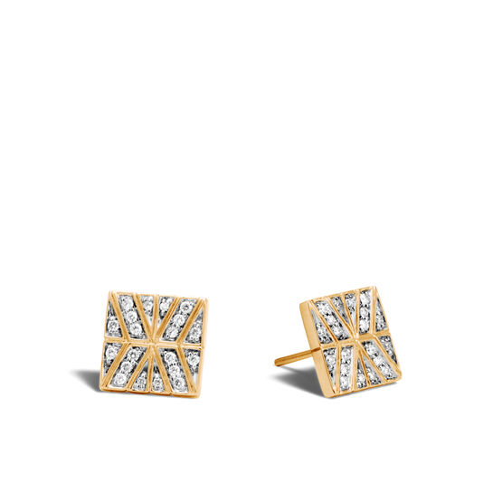 Modern Chain Stud Earring in 18K Gold with Diamonds, White Diamond, large
