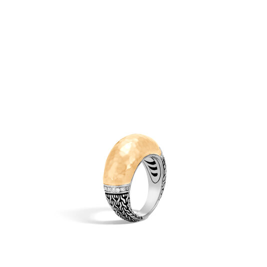 Classic Chain 10MM Dome Ring Silver, Hammered 18K Gold, Dia, White Diamond, large
