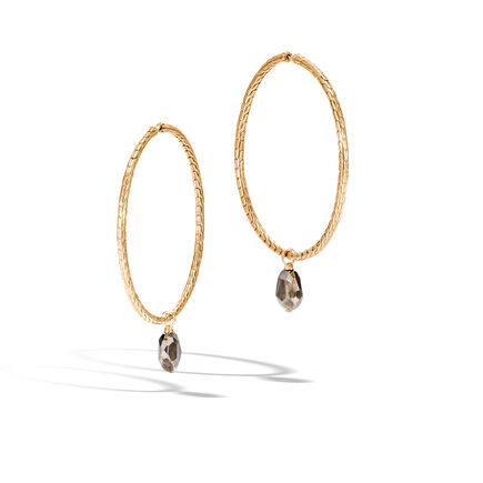 Classic Chain Hoop Earring in 18K Gold with Gemstone