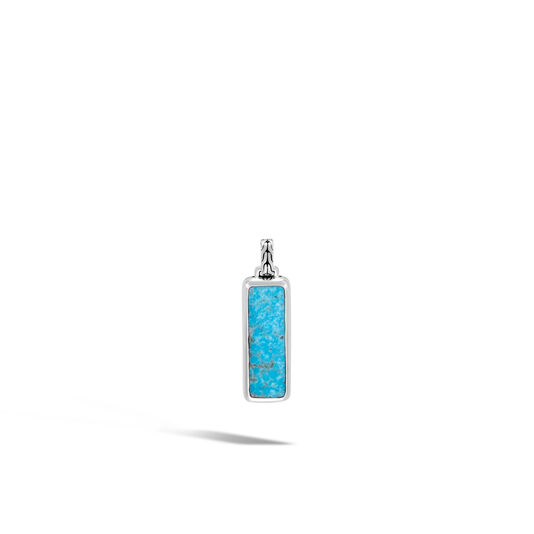 Classic Chain Dog Tag in Silver with Gemstone, Natural Arizona Turquoise, large