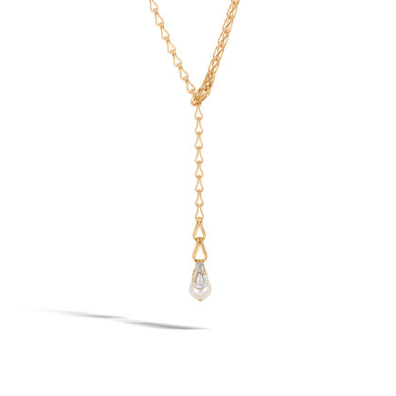 Bamboo Y Necklace in 18K Gold, 11MM Pearl with Diamonds