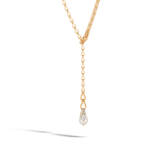 Bamboo Y Necklace in 18K Gold, 11MM Pearl with Diamonds, White Fresh Water Pearl, large