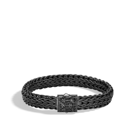 Classic Chain 11MM Bracelet, Blackened Silver with Gemstone
