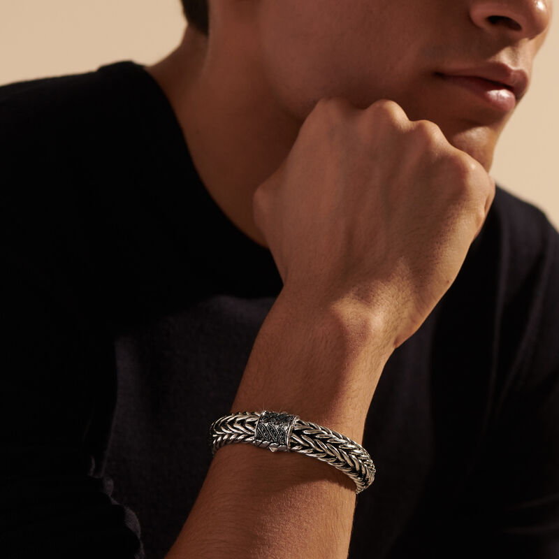 Kami Chain 15MM Bracelet, Treated Black Sapphire, large