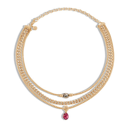 AAxJH Classic Chain Multi Row Necklace in 18K Gold with Gemstone