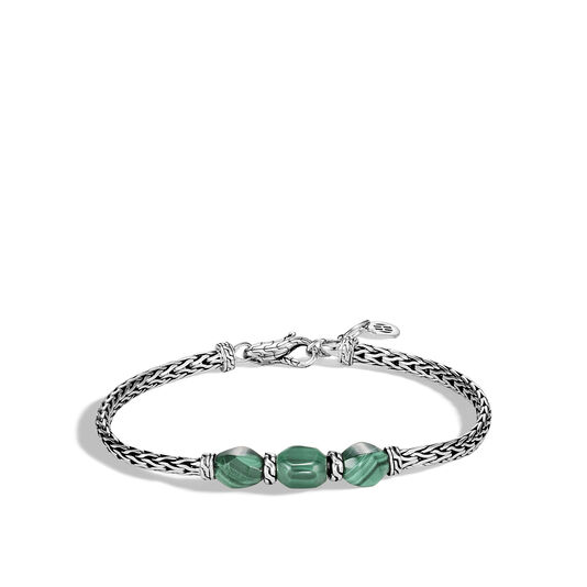 Classic Chain Pull Through Station Bracelet in Silver with Gem, Malachite, large