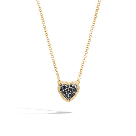 Classic Chain Heart Necklace in 18K Gold with Gemstone