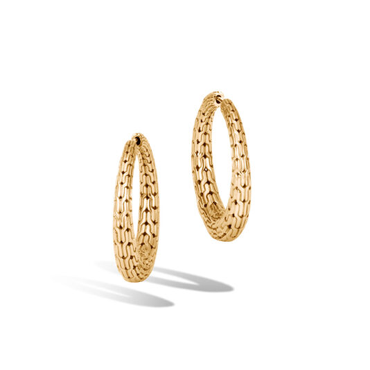 Classic Chain Graduated Small Hoop Earring in 18K Gold, , large