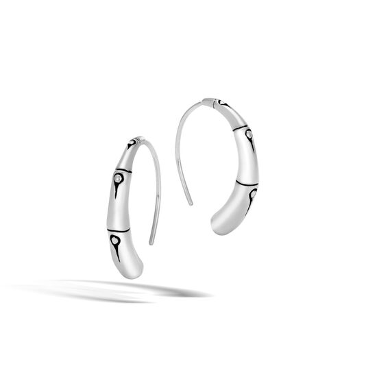 Bamboo Small Hoop Earring in Silver, , large