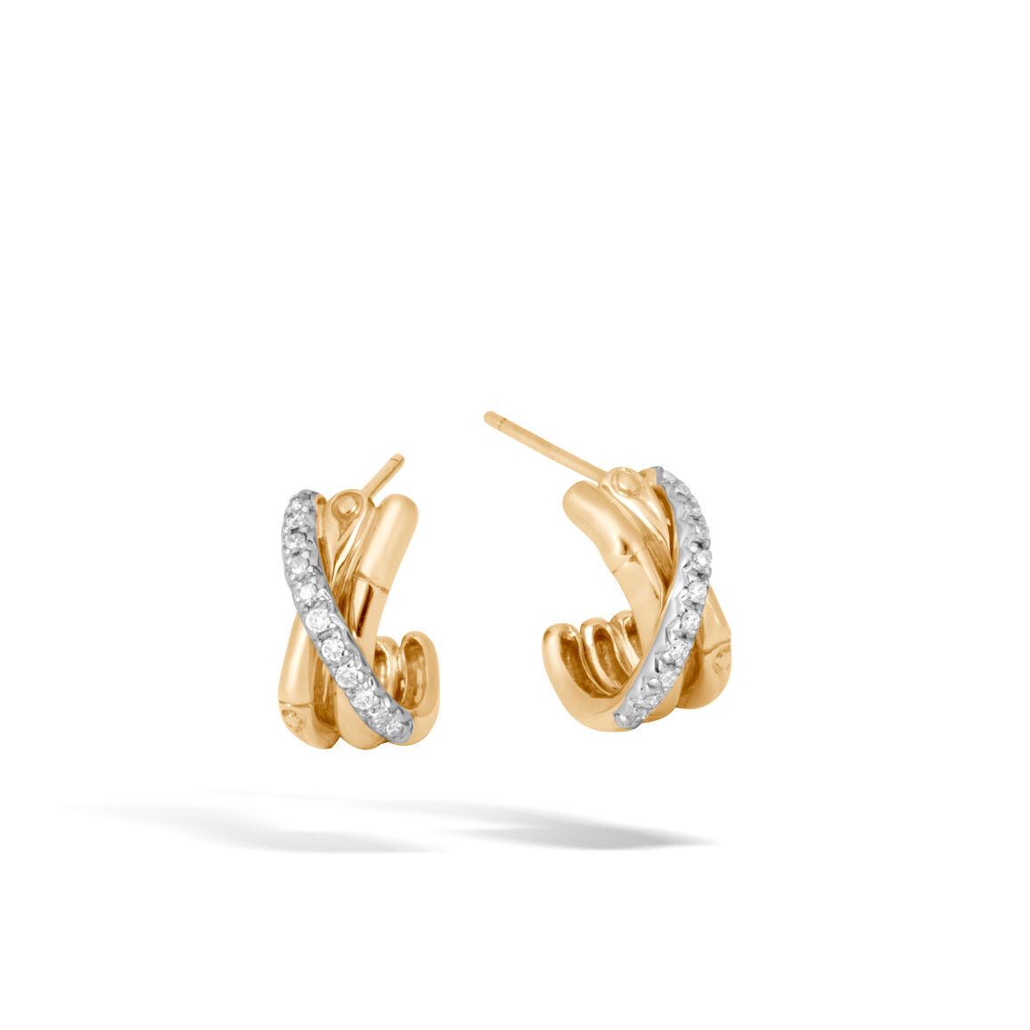 Bamboo J Hoop Earring in 18K Gold with Diamonds