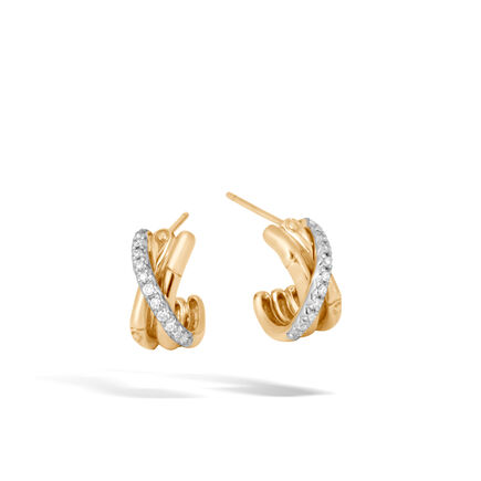 Bamboo J Hoop Earring in 18K Gold with Diamonds