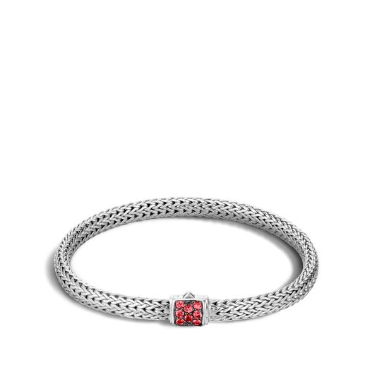 Classic Chain 5MM Bracelet in Silver with Gemstone, Red Sapphire, large