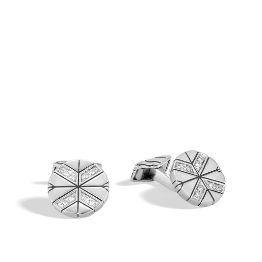 Modern Chain Cufflinks in Silver with Diamonds, White Diamond, large