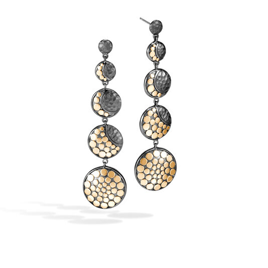 Dot Moon Phase Drop Earring, Blackened Hammered Silver, 18K, , large