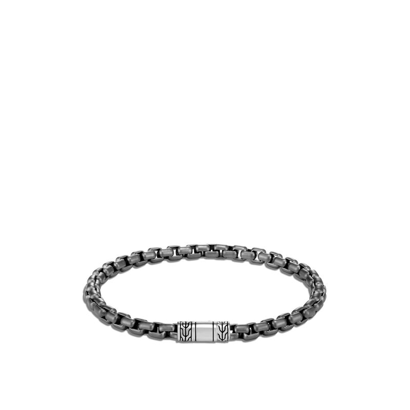 4.8MM Box Chain Bracelet in Blackened Silver, , large