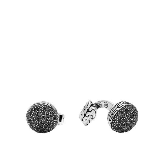Classic Chain Ball Cufflinks in Silver with Gemstone, , large