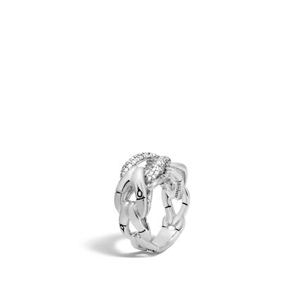 Bamboo Ring in Silver with Diamonds
