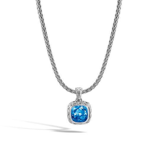 Classic Chain Magic Cut Pendant Necklace, Silver, 8MM Gem, London Blue Topaz, large