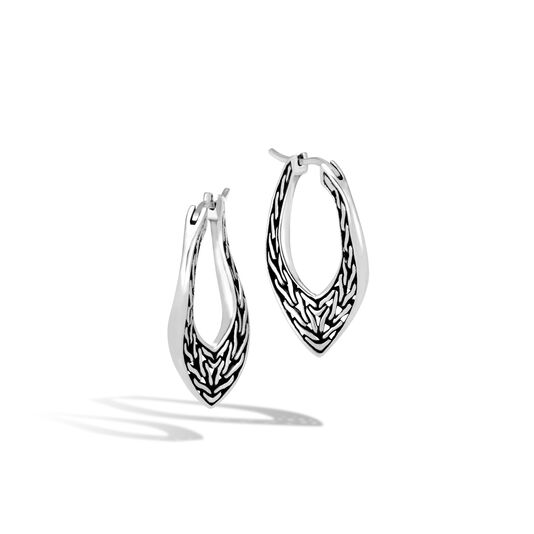Classic Chain Wave Small Hoop Earring in Silver, , large