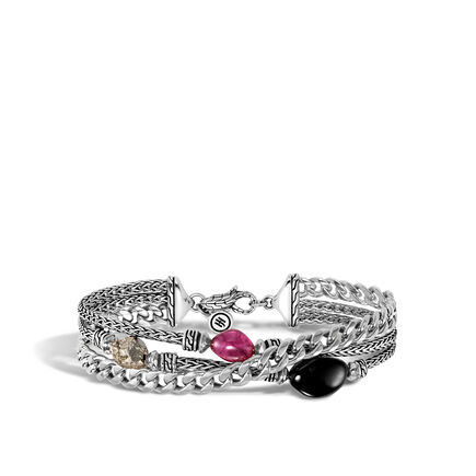 AAxJH Classic Chain Triple Row Bracelet in Silver with Gemstone