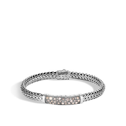 Classic Chain 6.5MM Station Bracelet in Silver with Diamonds