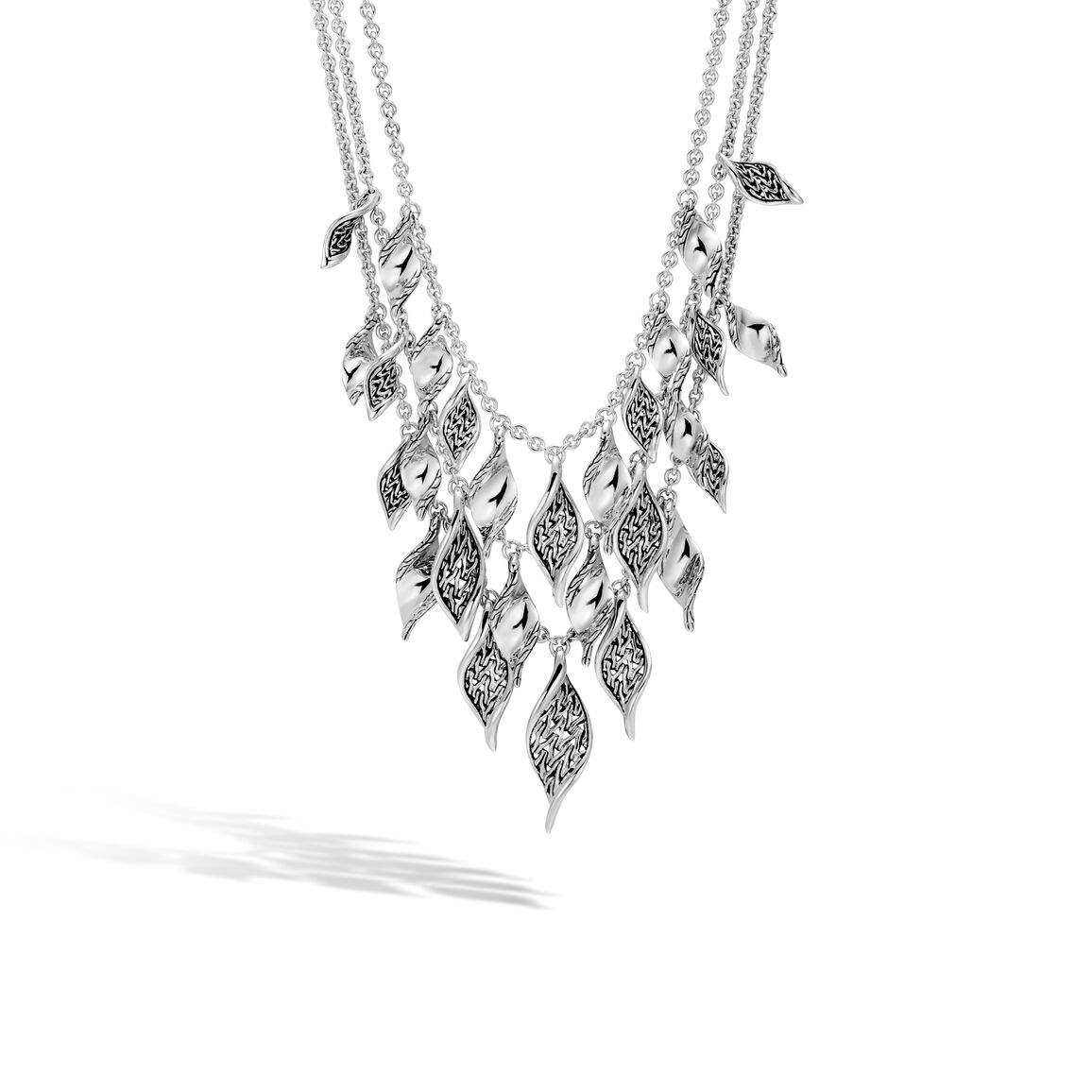 Classic Chain Wave Bib Necklace in Silver