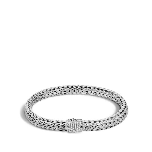 Classic Chain 6.5MM Bracelet in Silver with Diamonds, White Diamond, large
