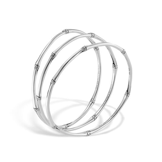 Bamboo Bangles in Silver, Set of 3, , large