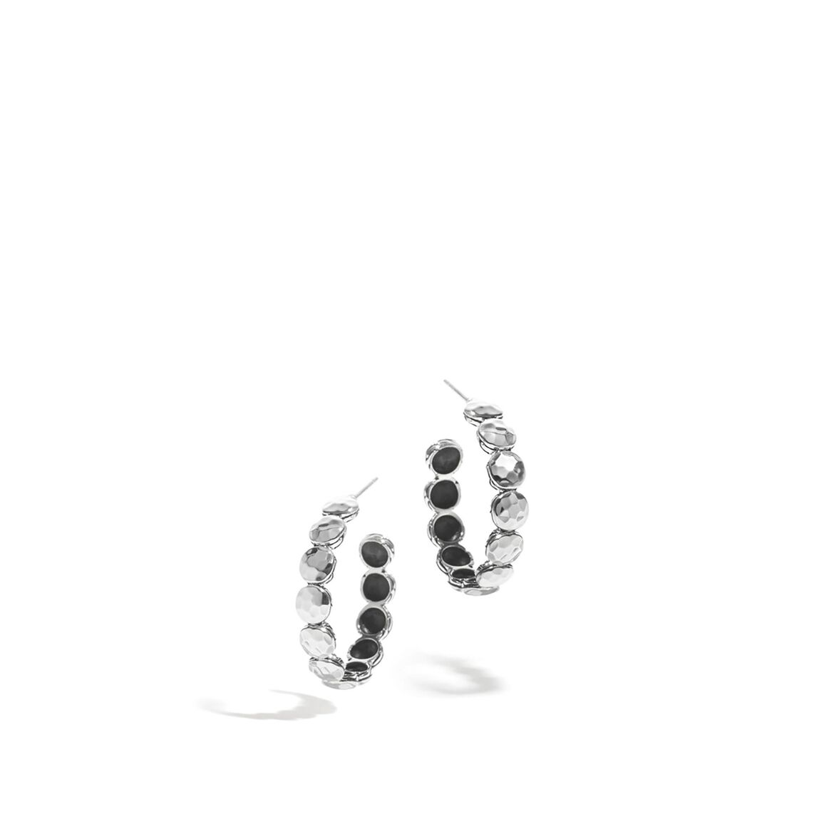 Dot Small Hoop Earring in Hammered Silver