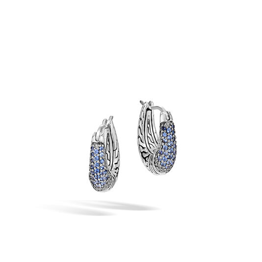 Classic Chain Hoop Earring in Silver with Gemstone , Blue Sapphire, large