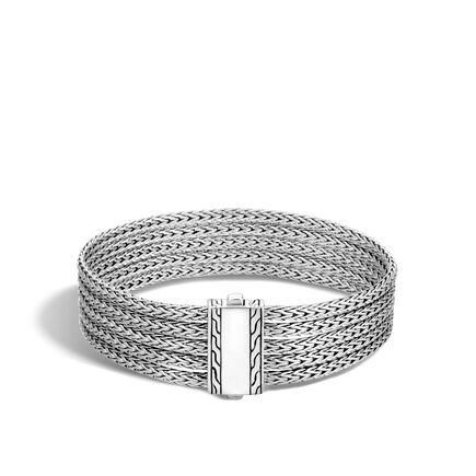 Classic Chain Five Row Bracelet in Silver