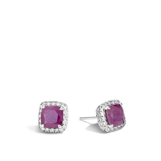 Classic Chain Magic Cut Stud Earring, Silver, Gems, Diamonds, Ruby, large