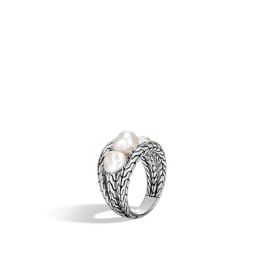 Classic Chain Ring in Silver with Gemstone, White Fresh Water Pearl, large