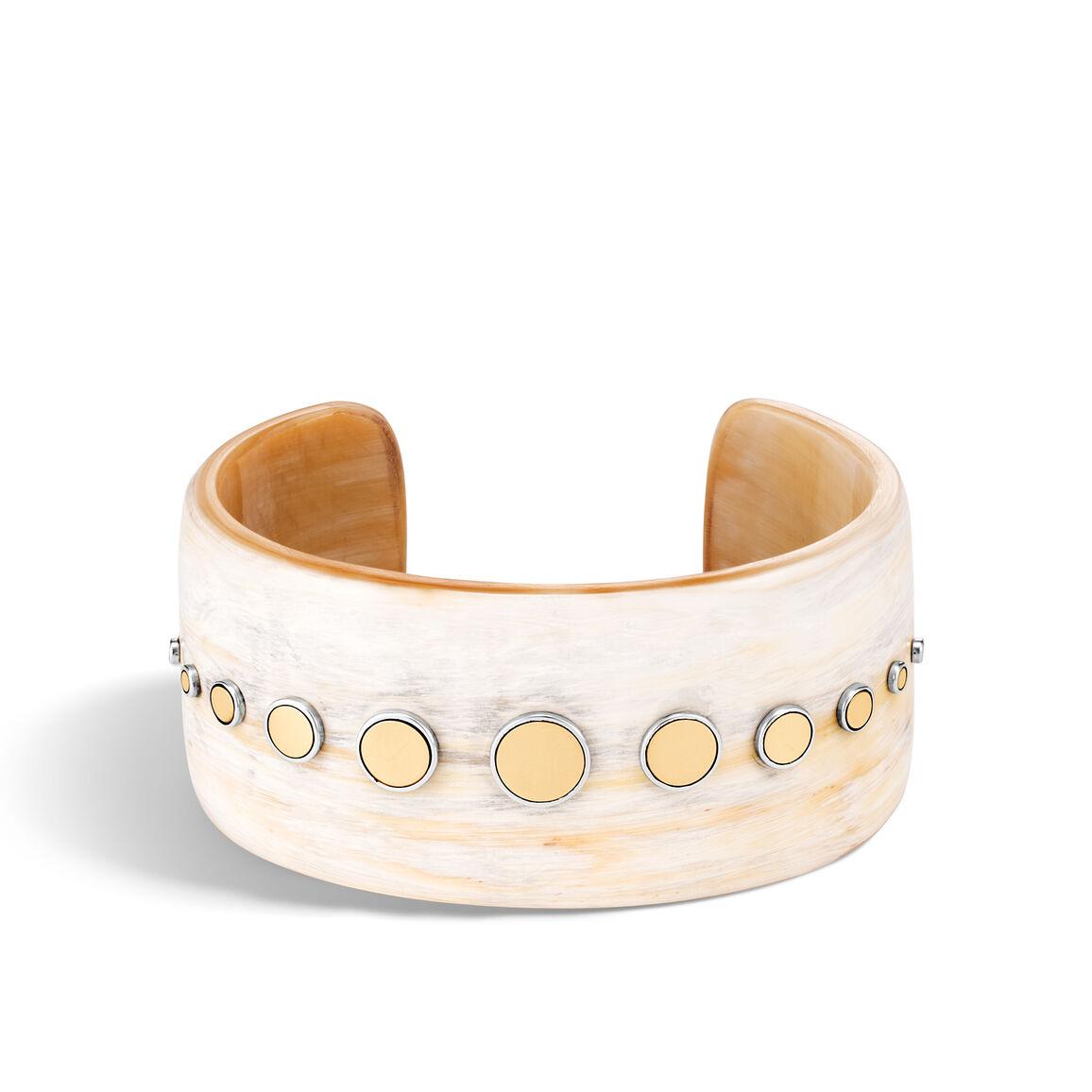 Dot 31.5MM Buffalo Horn Cuff in Silver and 18K Gold